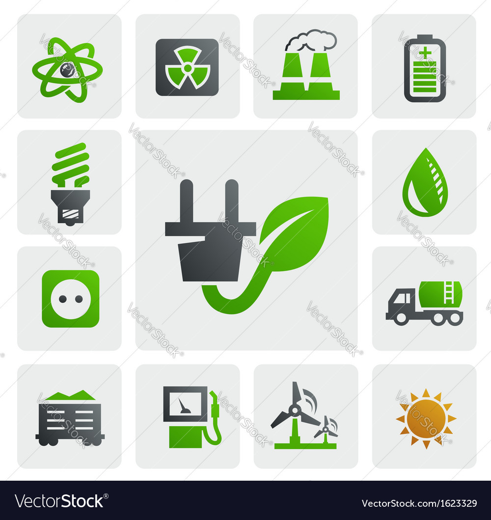Eco energy icons vector | Price: 1 Credit (USD $1)