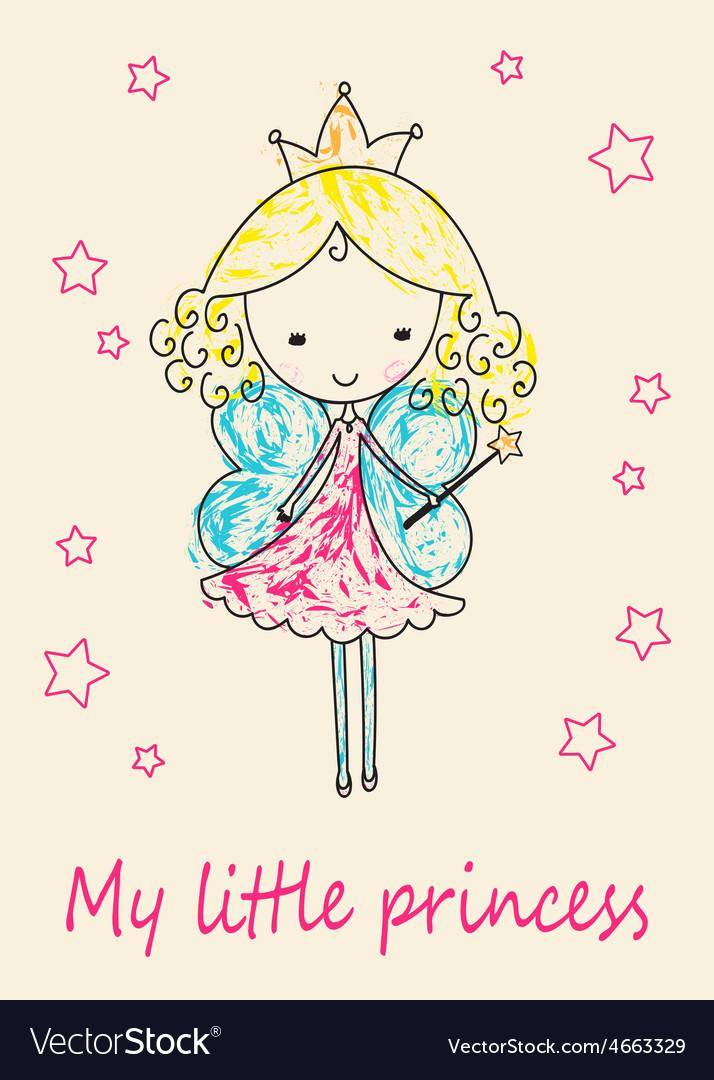 Fairy tale princess greeting card vector