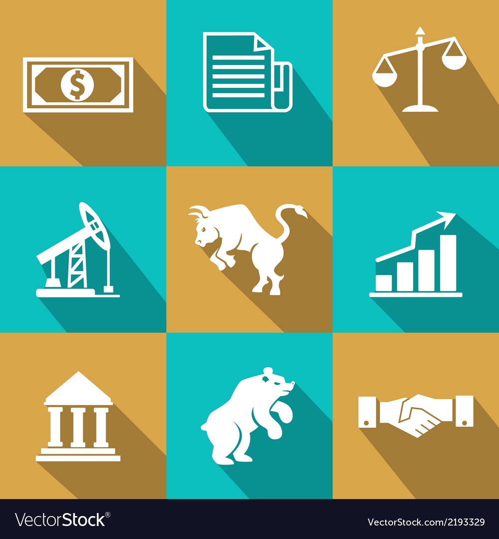 Financial icons in trendy flat style vector | Price: 1 Credit (USD $1)