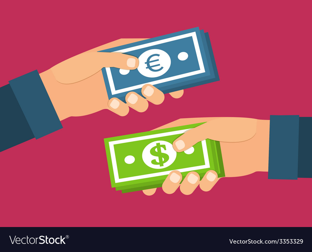 Hands holding money currency exchange transfer and vector | Price: 1 Credit (USD $1)