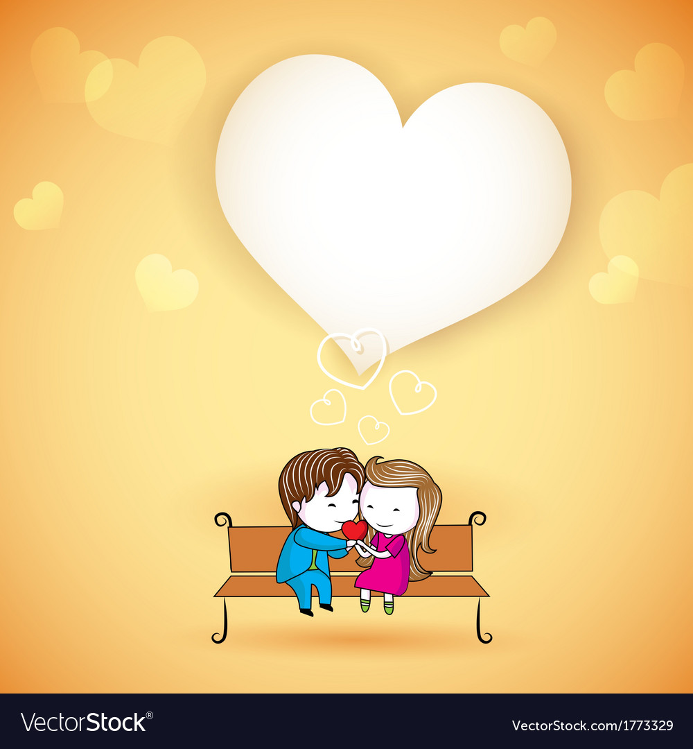 Happy loving couple on love background vector | Price: 1 Credit (USD $1)