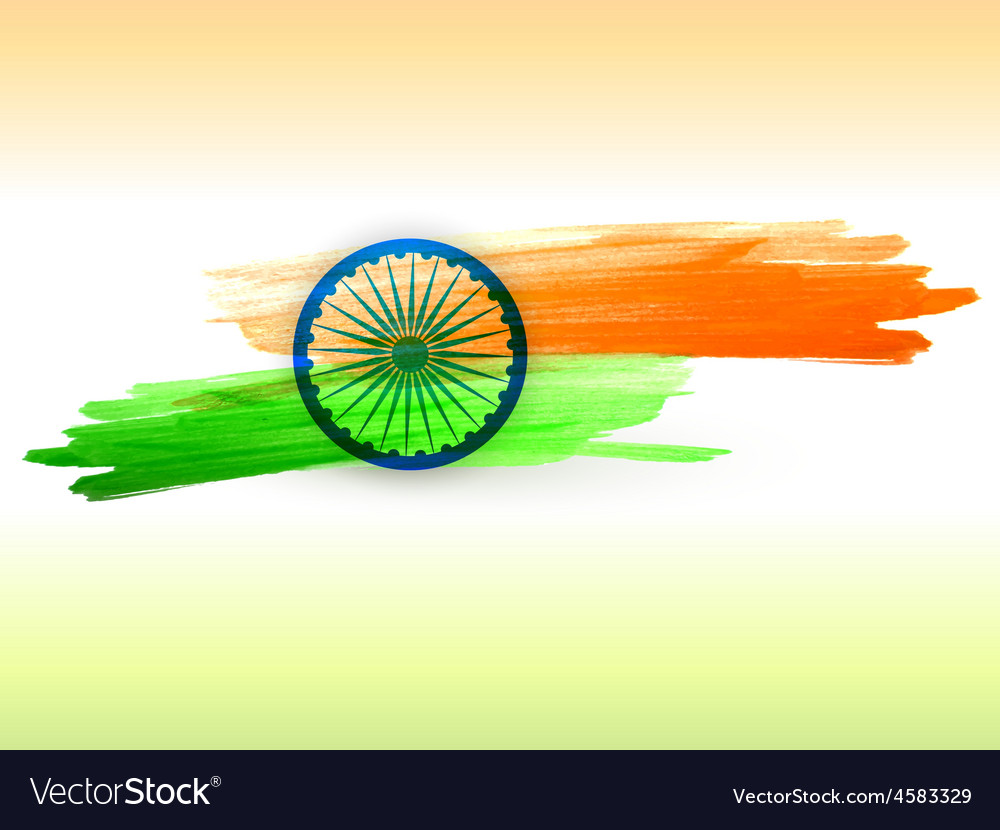 Indian flag made with color strokes vector | Price: 1 Credit (USD $1)