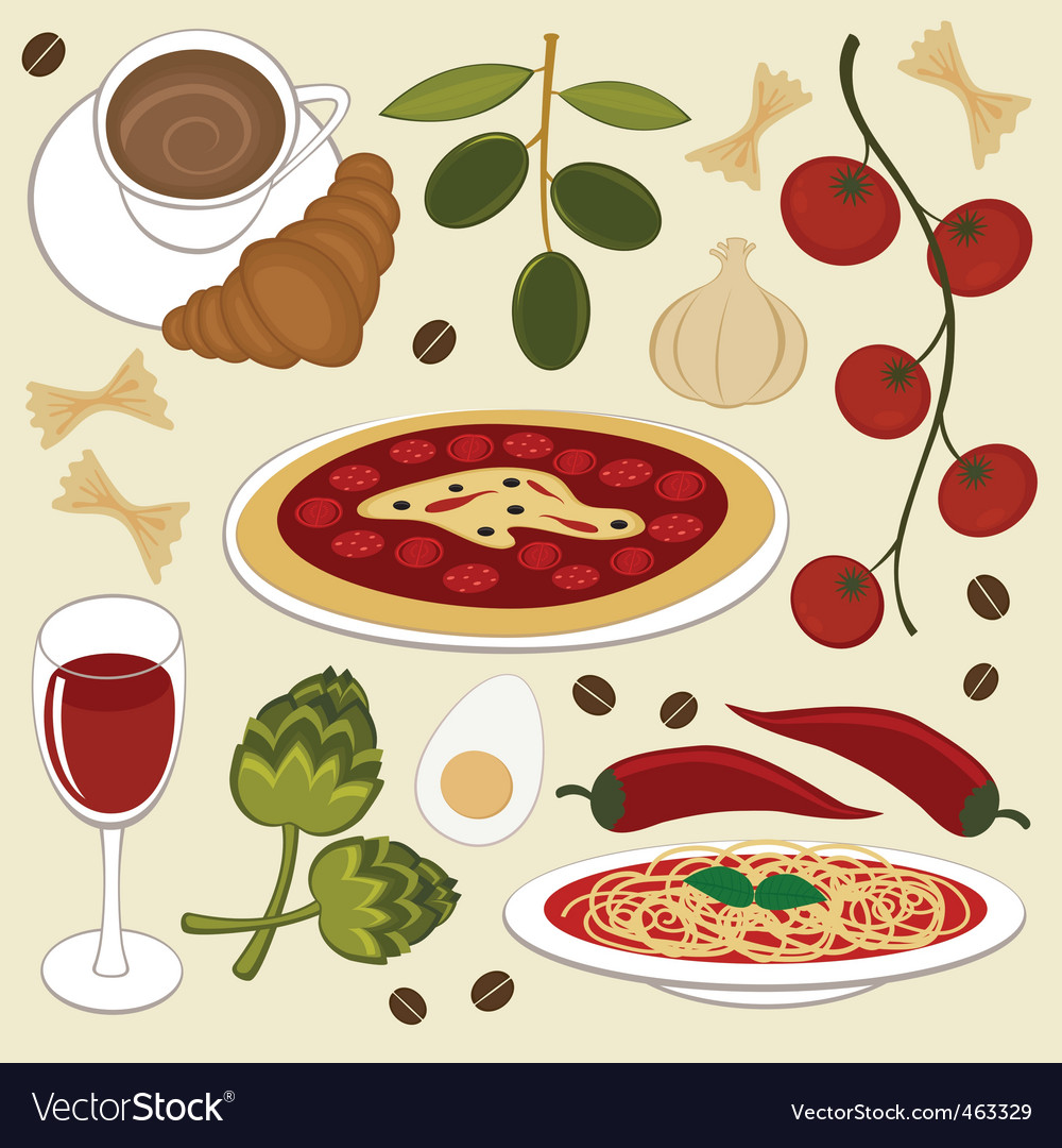 Italian food set vector | Price: 3 Credit (USD $3)