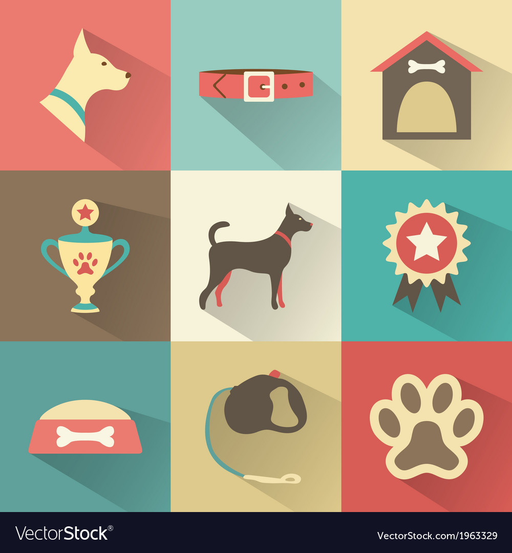 Retro dog icons set for web mobile vector