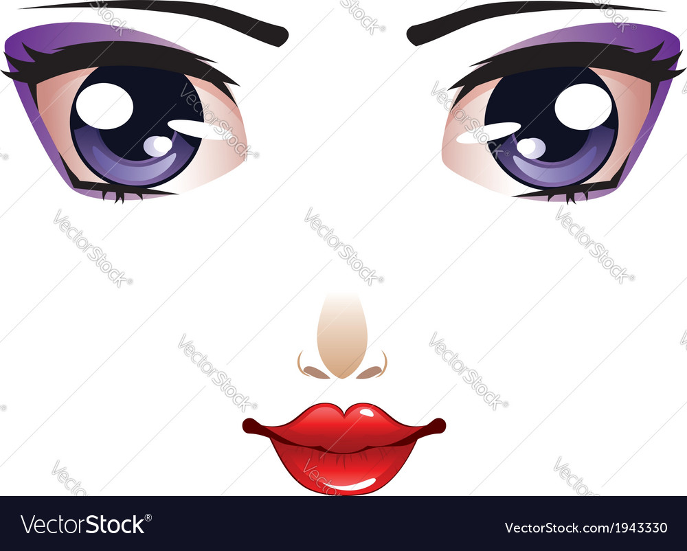Cartoon female face vector | Price: 1 Credit (USD $1)