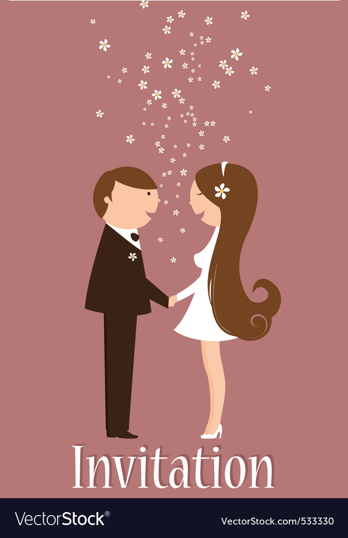 Cartoon wedding invitation vector | Price: 1 Credit (USD $1)