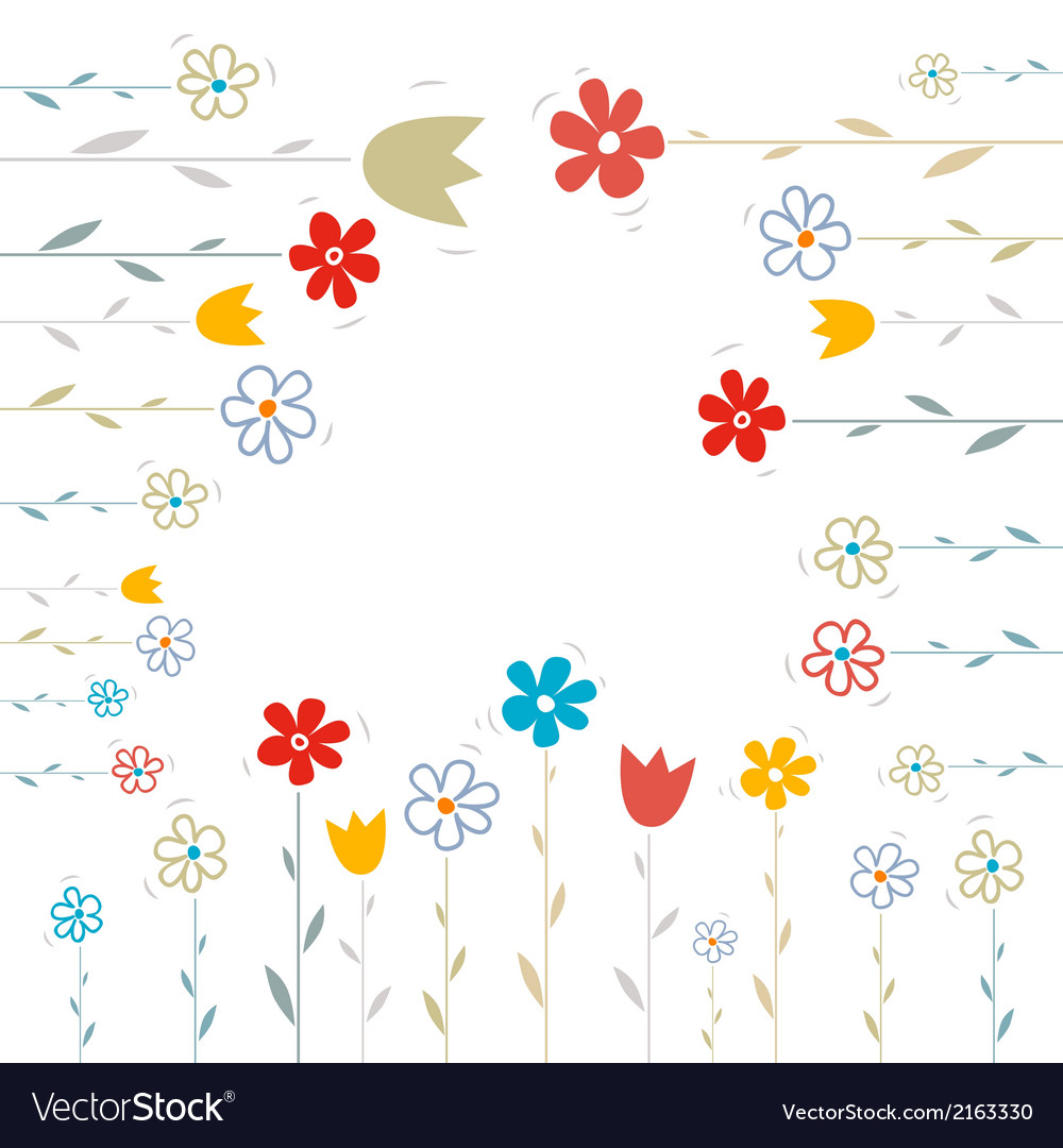 Flowers on white background vector | Price: 1 Credit (USD $1)