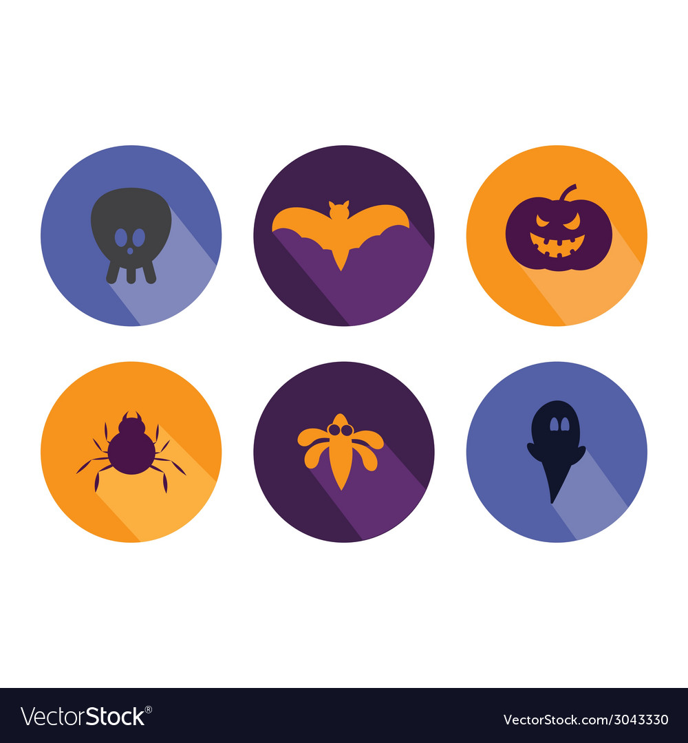 Halloween flat icons vector | Price: 1 Credit (USD $1)