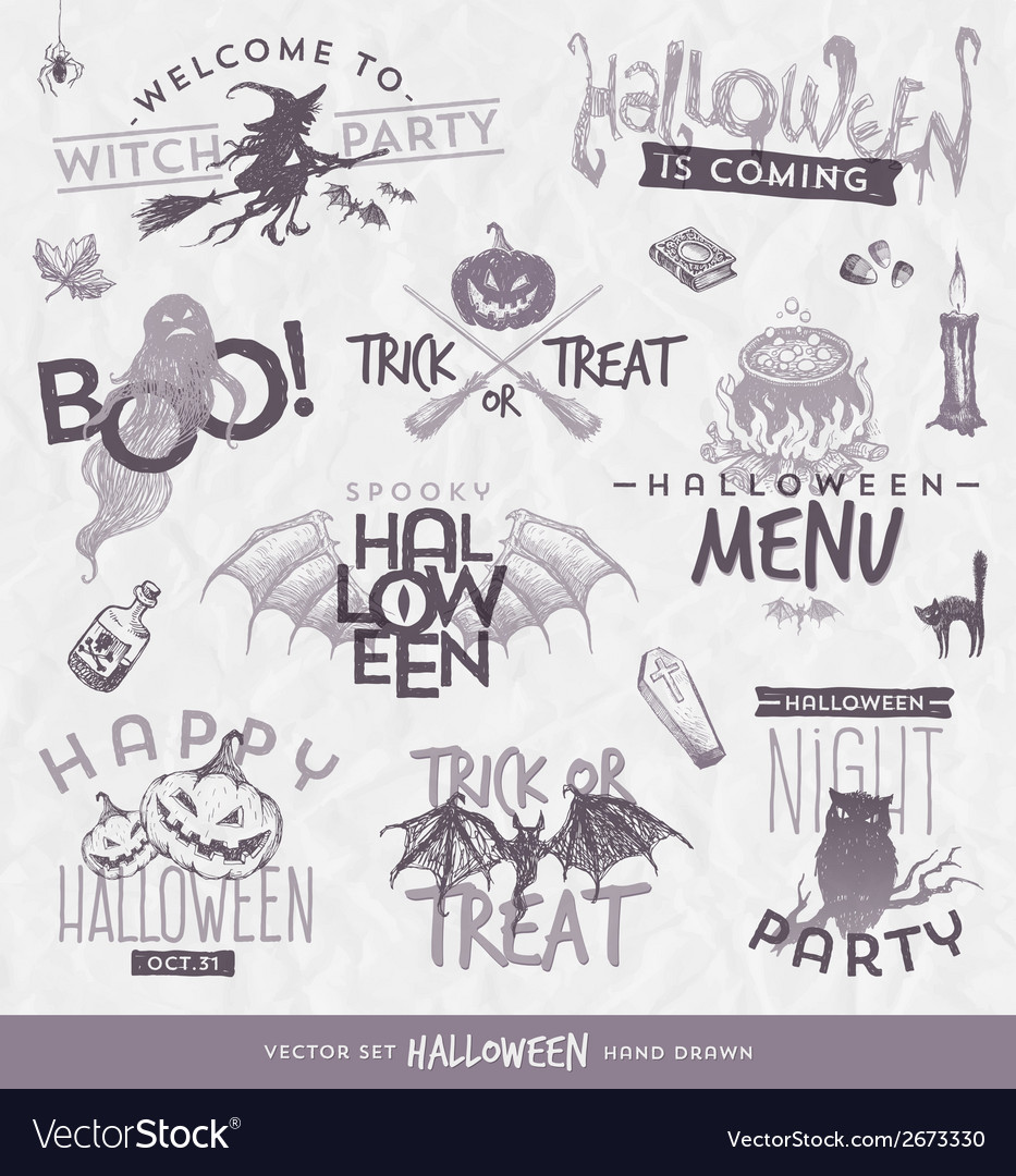 Halloween type design set with hand drawn elements vector | Price: 1 Credit (USD $1)