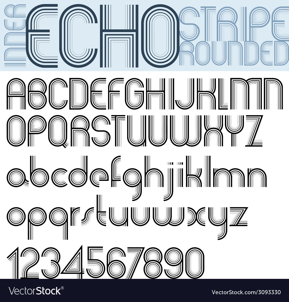 Inner echo retro striped rounded font vector | Price: 1 Credit (USD $1)