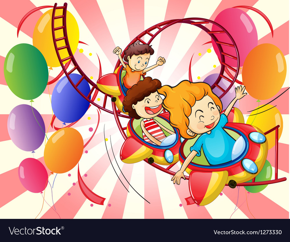 Kids enjoying the roller coaster ride vector | Price: 1 Credit (USD $1)
