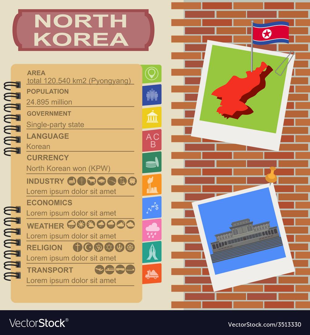 North korea infographics statistical data sights vector   Price: 1 Credit (USD $1)