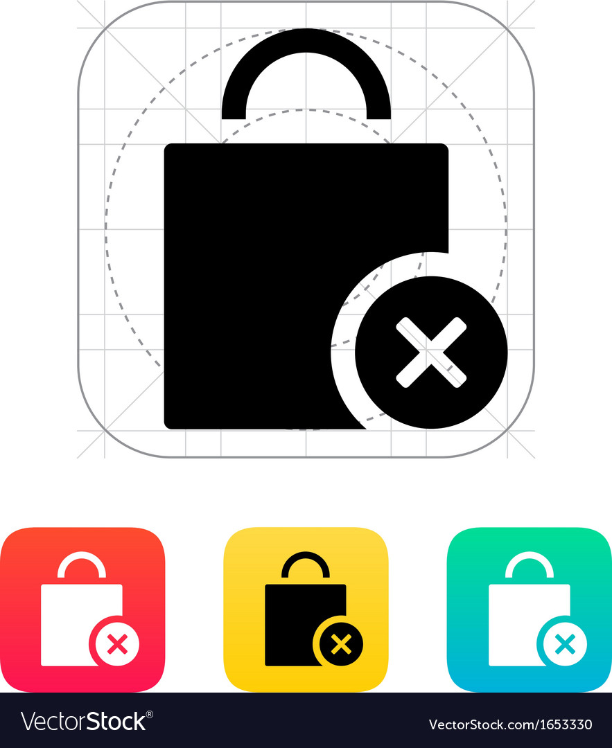 Shopping bag delete icon vector | Price: 1 Credit (USD $1)