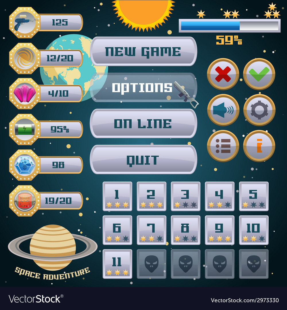 Space game interface design vector | Price: 1 Credit (USD $1)