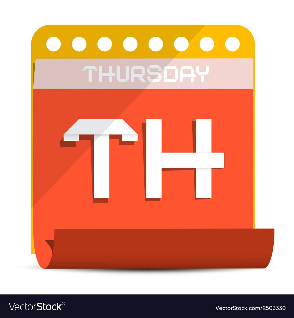 Thursday paper calendar vector | Price: 1 Credit (USD $1)