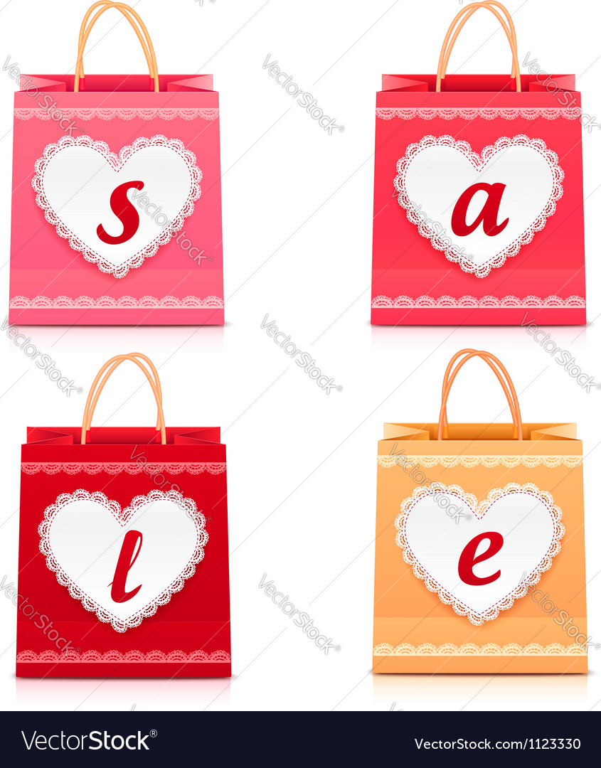 Valentines day lacy shopping bag sale set vector | Price: 1 Credit (USD $1)