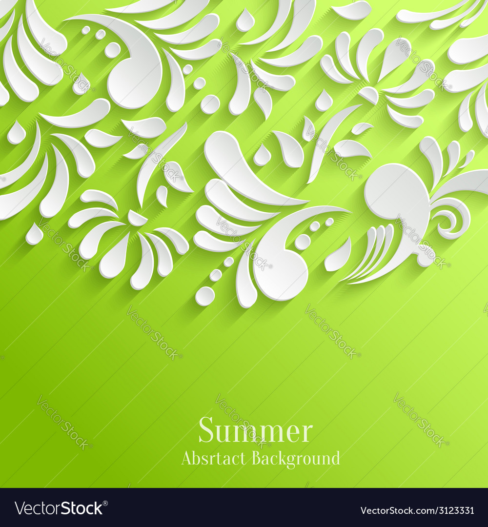 Abstract summer green background with 3d floral vector | Price: 1 Credit (USD $1)