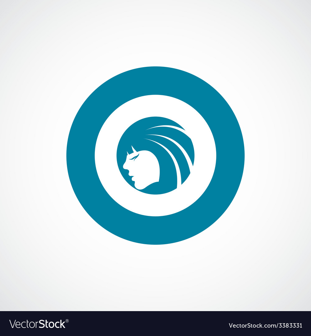Beauty girl face bold blue border circle icon vector | Price: 1 Credit (USD $1)