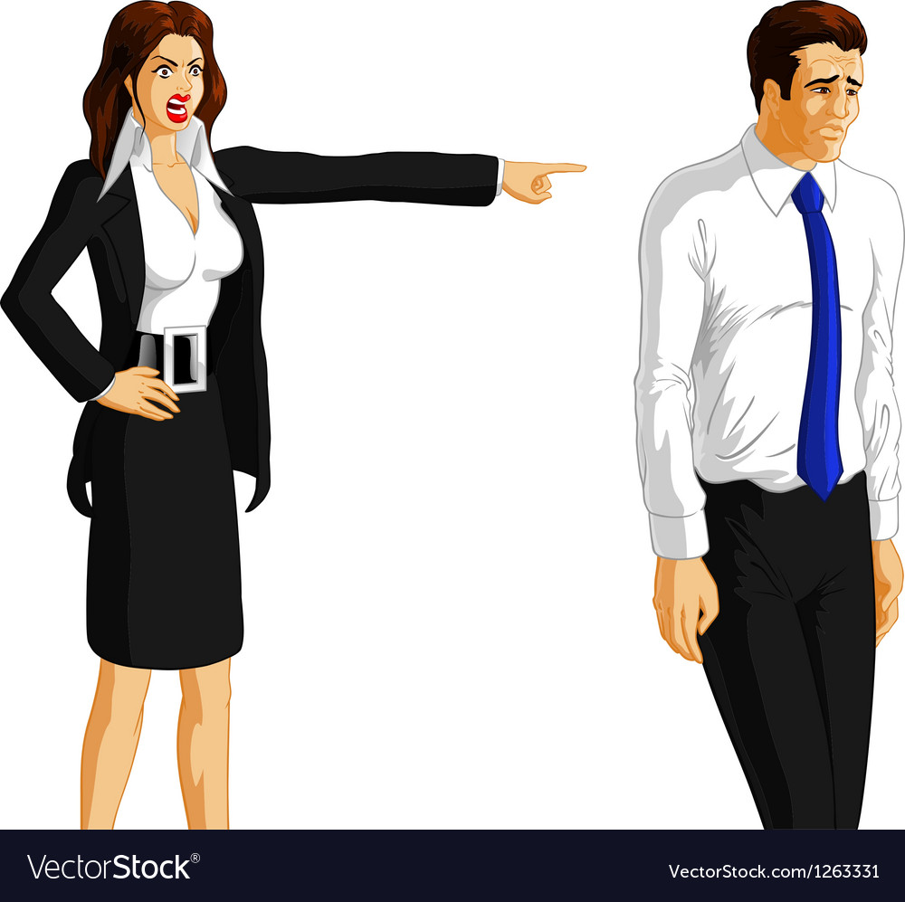 Businesswoman firing a worker vector | Price: 1 Credit (USD $1)