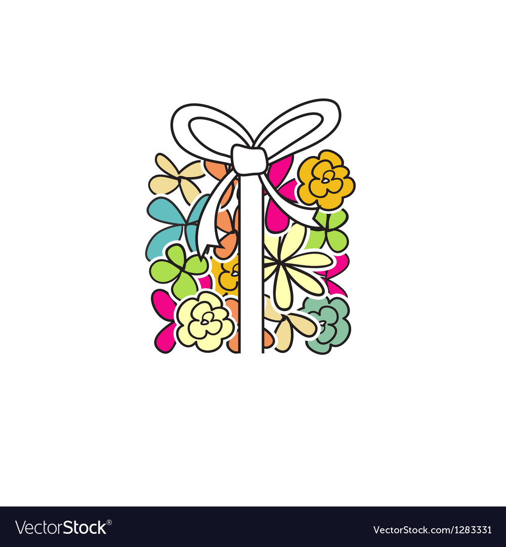 Cute present box from flowers vector | Price: 1 Credit (USD $1)