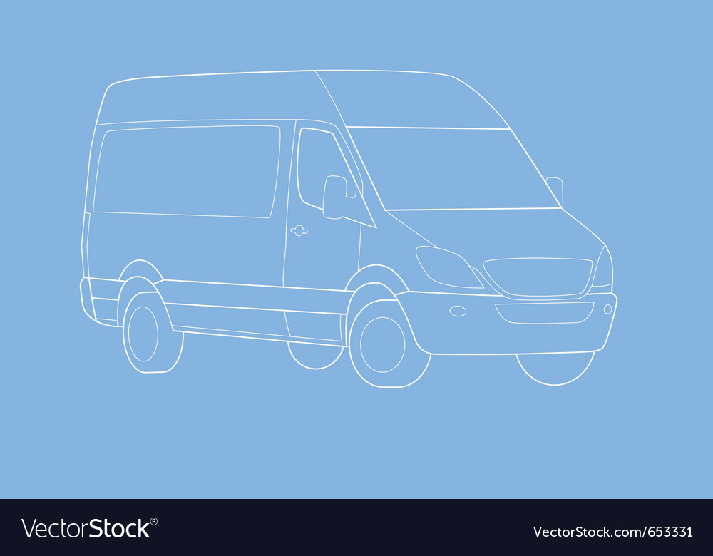Delivery van outline vector | Price: 1 Credit (USD $1)