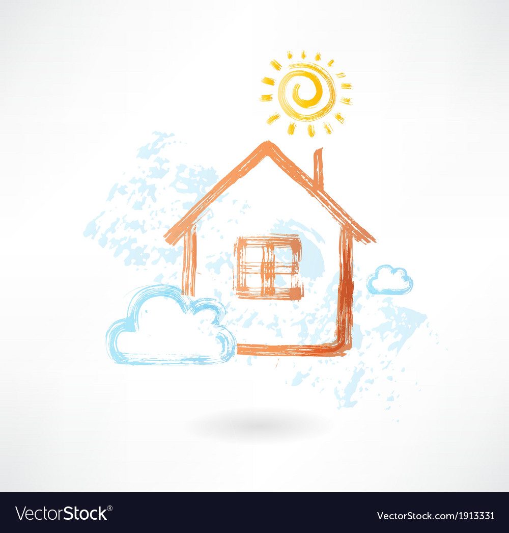 House in the sun and cloud grunge icon vector | Price: 1 Credit (USD $1)