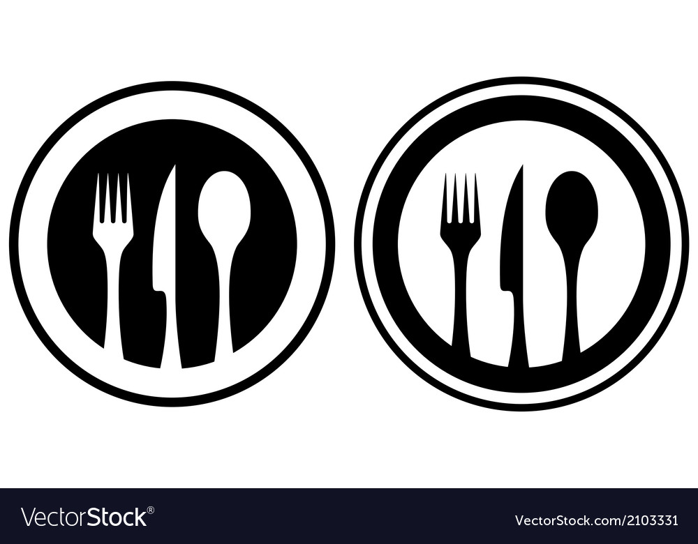 Set food icon with kitchen utensil vector | Price: 1 Credit (USD $1)