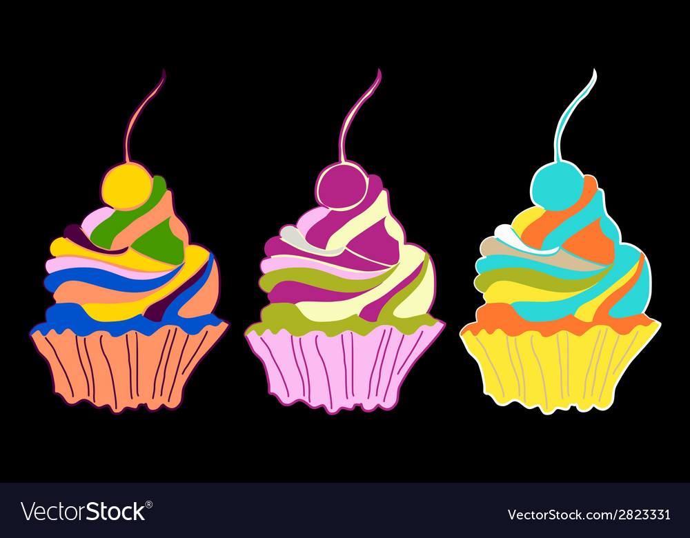 Set of cupcakes and muffins vector | Price: 1 Credit (USD $1)