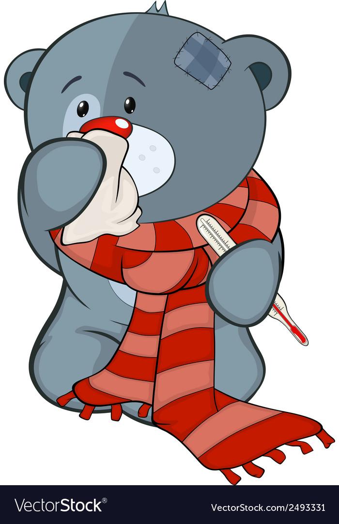 The stuffed toy bear cub and illness cartoon vector   Price: 1 Credit (USD $1)