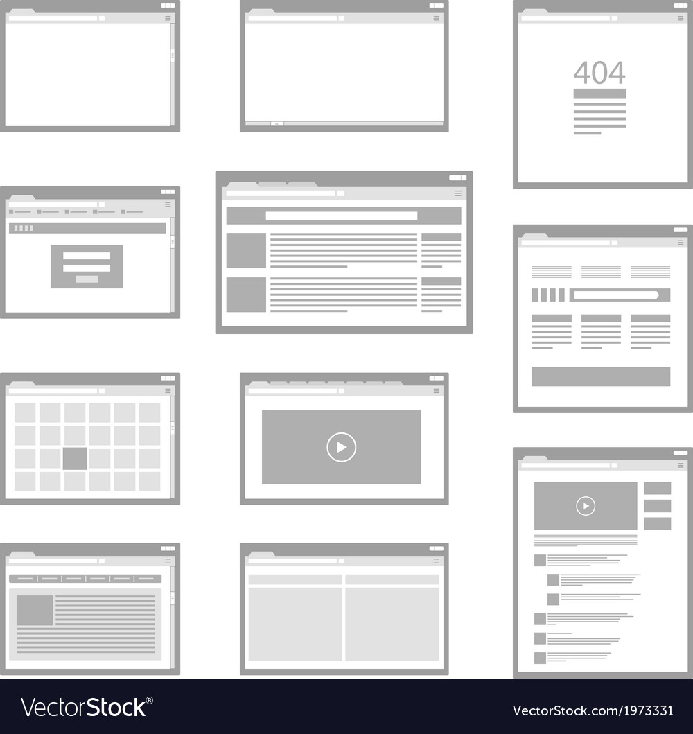 Web site page templates collection vector | Price: 1 Credit (USD $1)