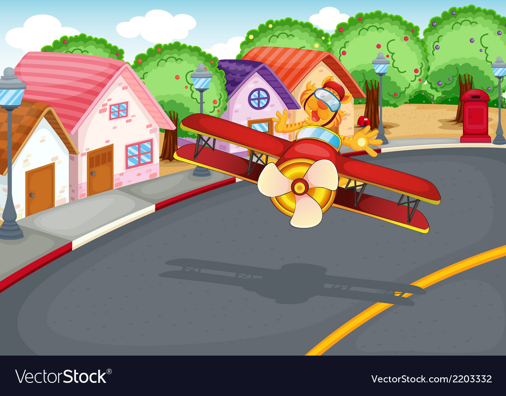 A plane at the village with a tiger vector | Price: 3 Credit (USD $3)