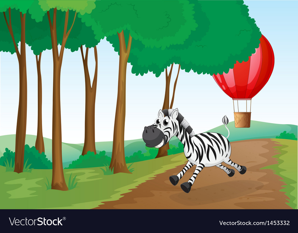 A zebra and a hot air balloon at the forest vector | Price: 1 Credit (USD $1)