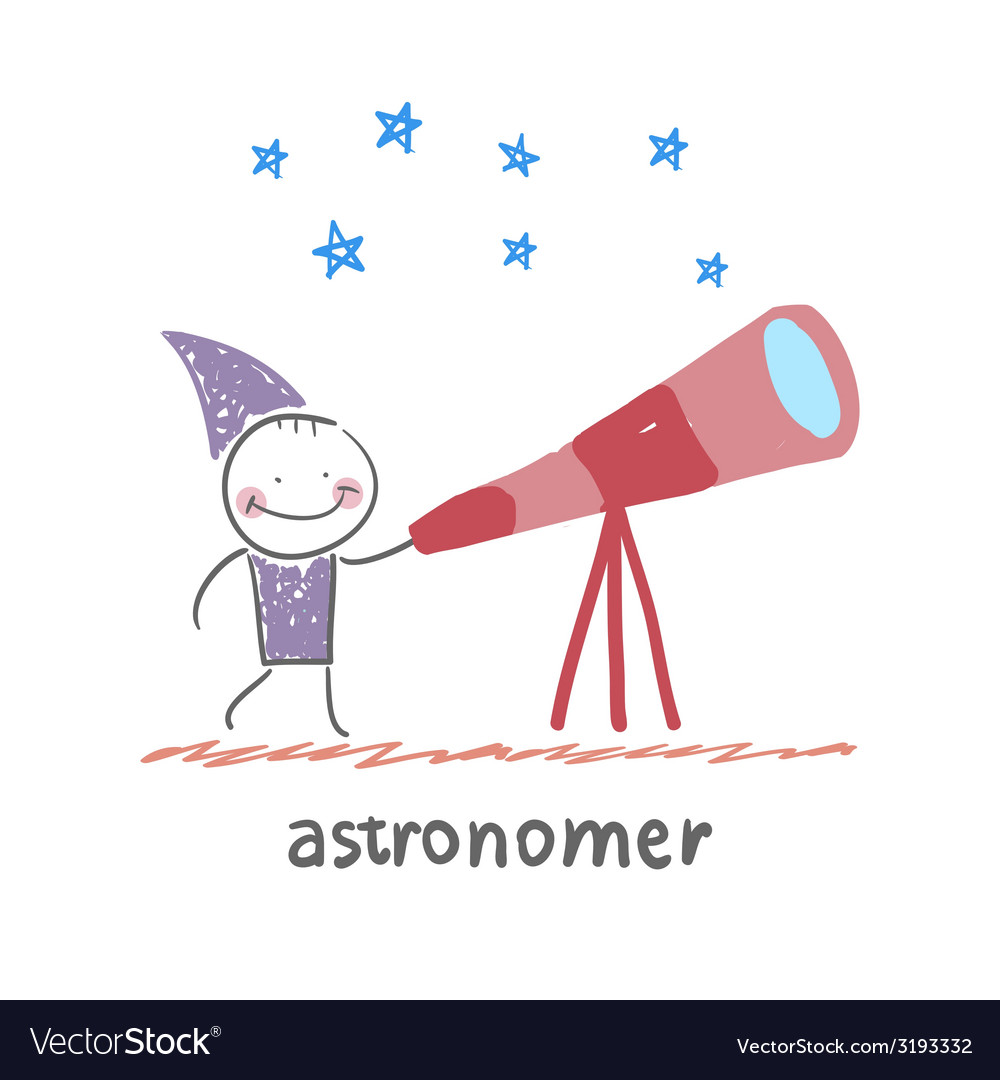 Astronomer looking through a telescope vector | Price: 1 Credit (USD $1)