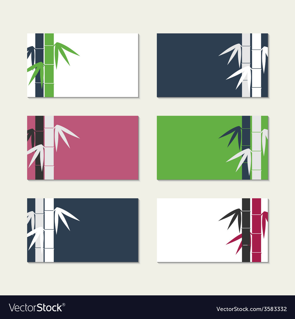 Bamboo stems greeting cards vector | Price: 1 Credit (USD $1)