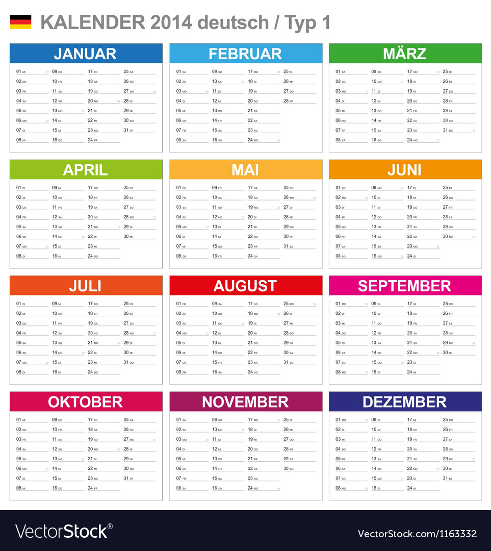 Calendar 2014 german type 1 vector | Price: 1 Credit (USD $1)