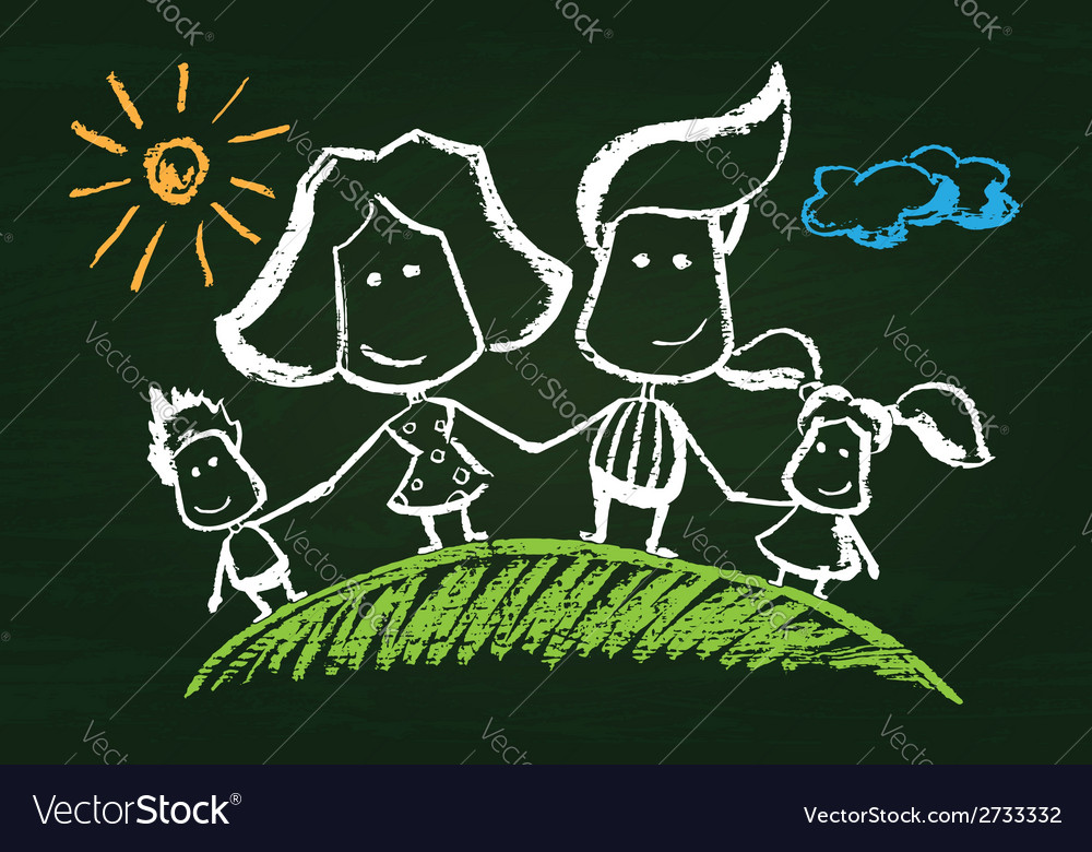 Chalked happy family vector | Price: 1 Credit (USD $1)