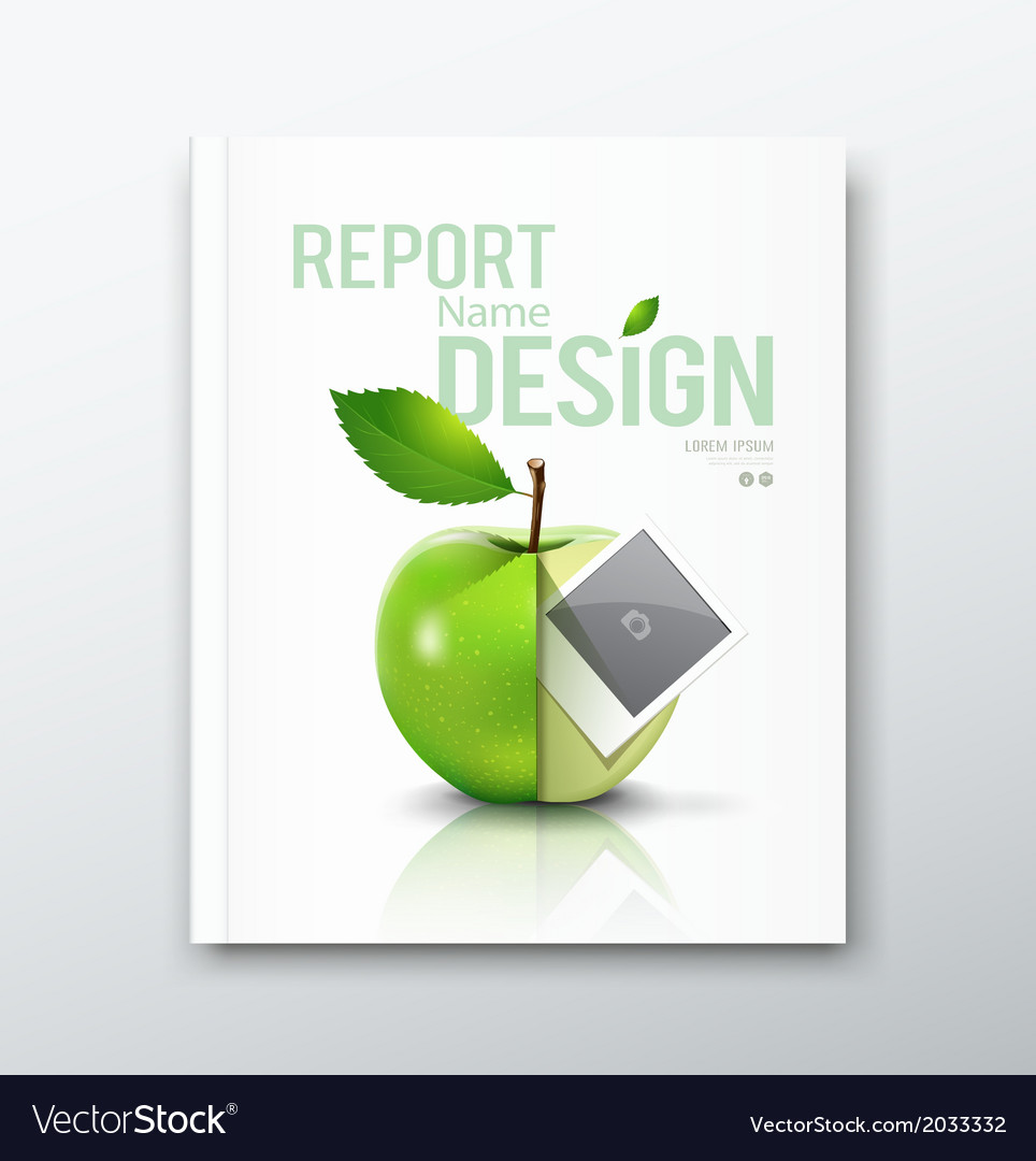 Cover annual report green apple and instant photo vector | Price: 1 Credit (USD $1)