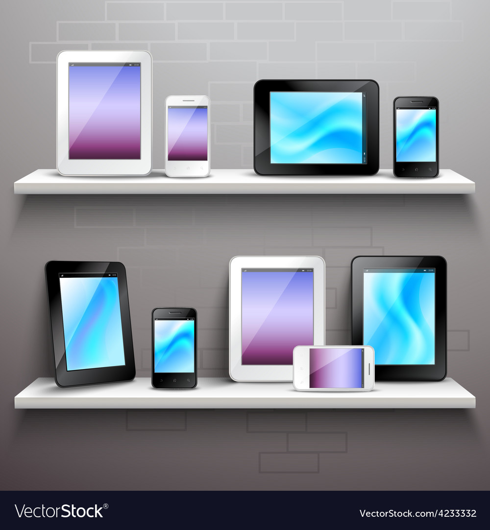 Devices on shelves vector   Price: 3 Credit (USD $3)