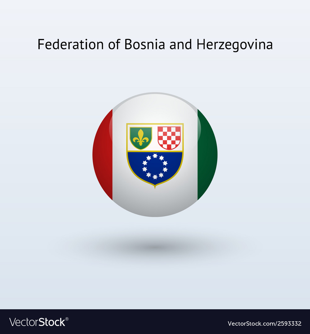 Federation of bosnia and herzegovina round flag vector | Price: 1 Credit (USD $1)