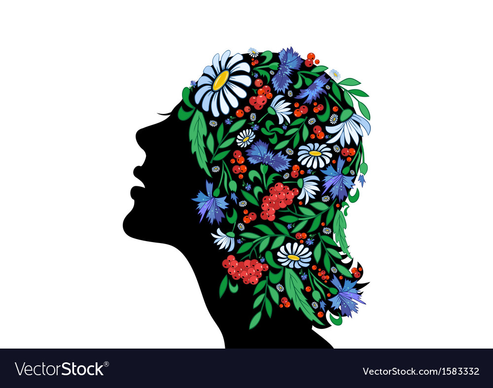 Female head with abstract flowers vector | Price: 1 Credit (USD $1)