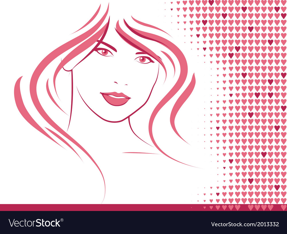 Hair and hearts vector | Price: 1 Credit (USD $1)