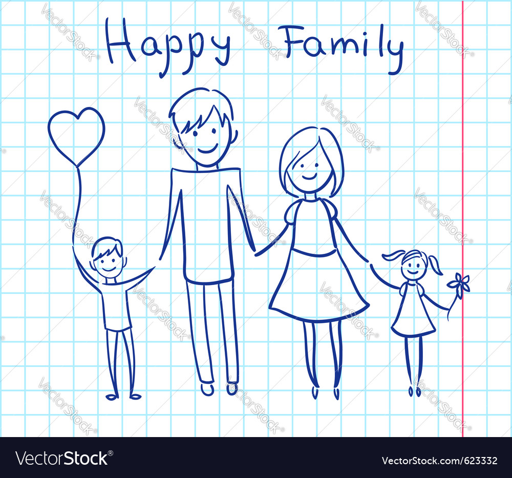 Happy family sketch vector | Price: 1 Credit (USD $1)