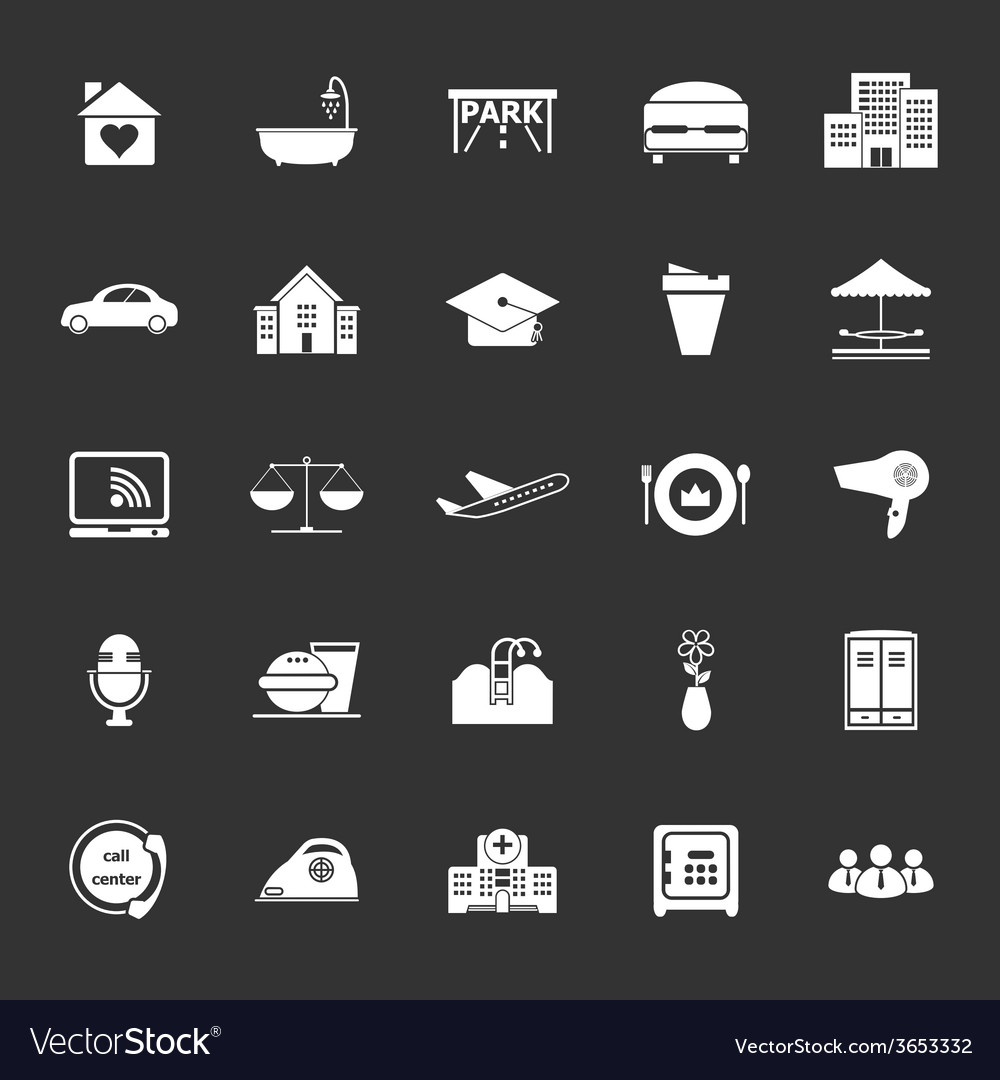 Hospitality business icons on gray background vector | Price: 1 Credit (USD $1)