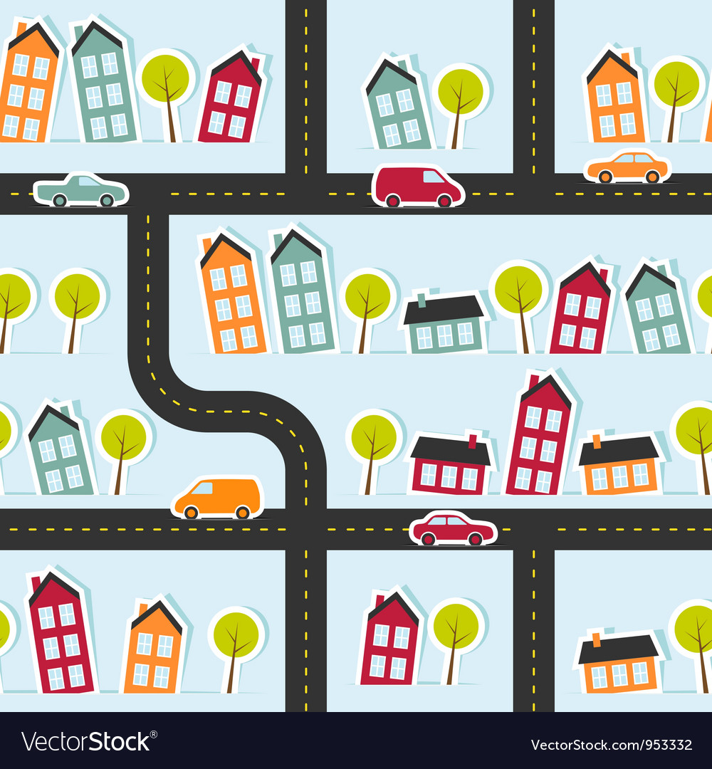 Paper town seamless pattern vector | Price: 1 Credit (USD $1)