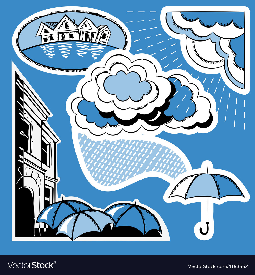 Rain in the city vector | Price: 1 Credit (USD $1)