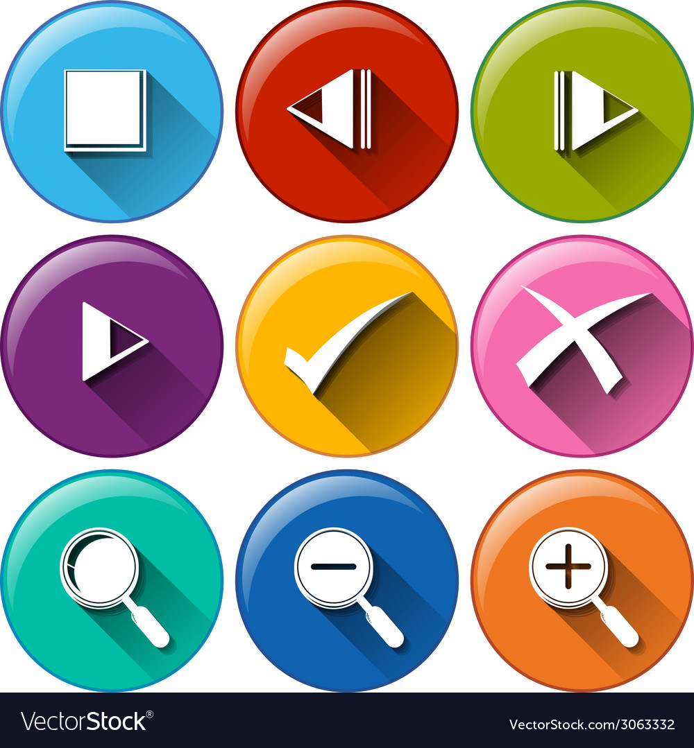 Round icons with the different buttons vector | Price: 1 Credit (USD $1)