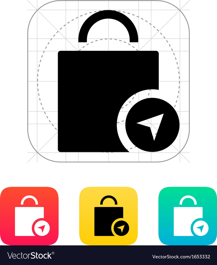 Shopping bag location icon vector | Price: 1 Credit (USD $1)