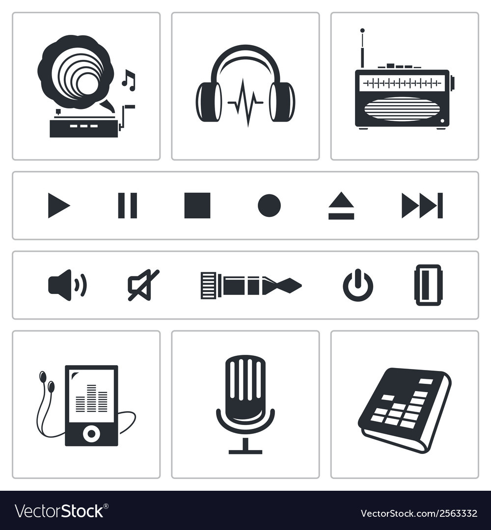Sound and music icon set vector | Price: 1 Credit (USD $1)