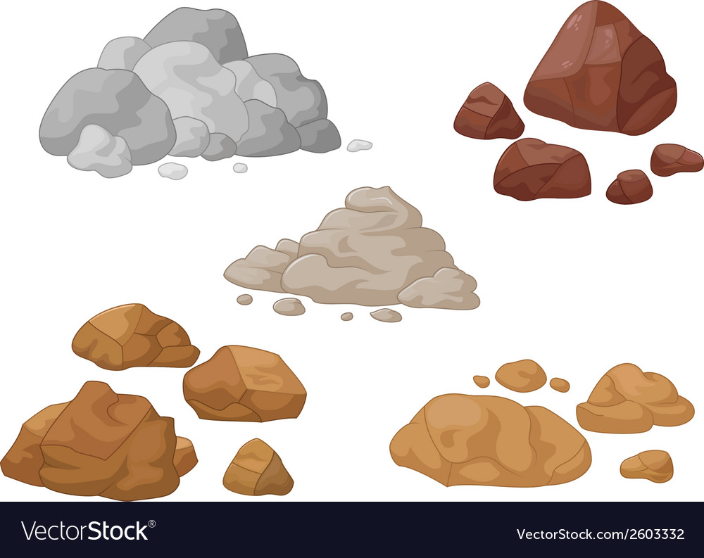 Stone and rock cartoon collection vector | Price: 1 Credit (USD $1)