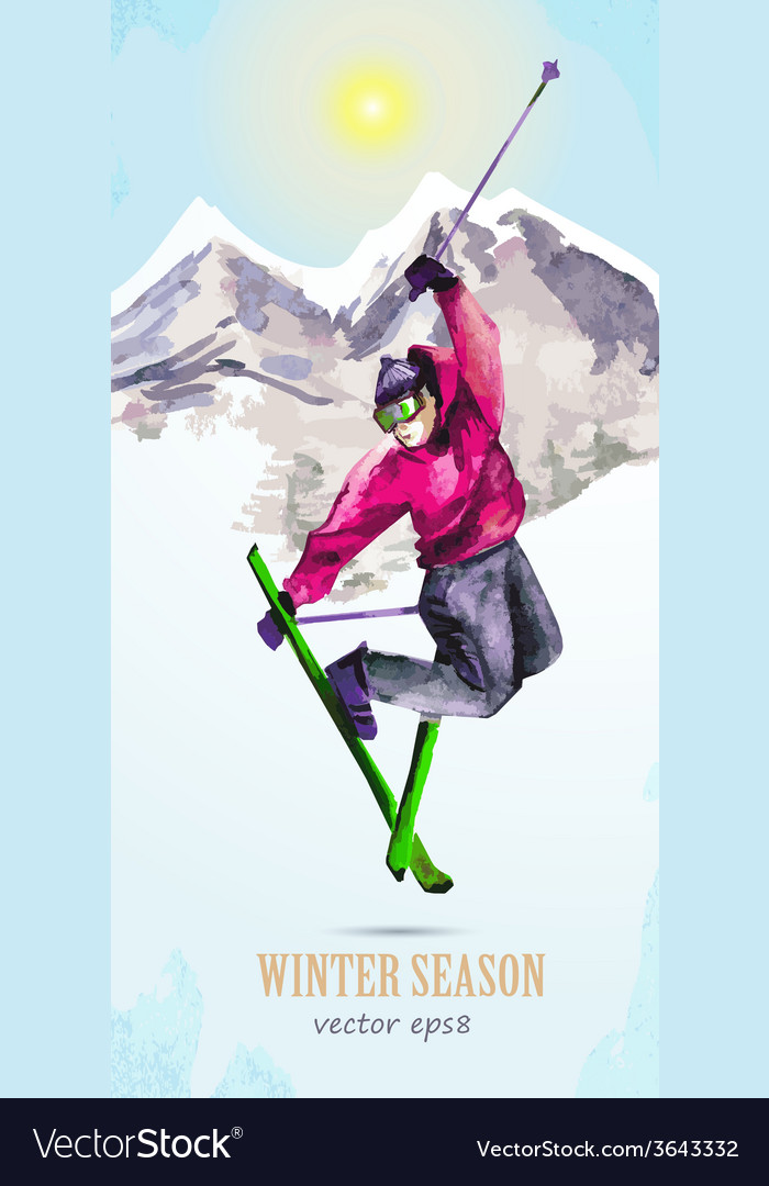 Watercolor greeting card with young man skier for vector | Price: 1 Credit (USD $1)